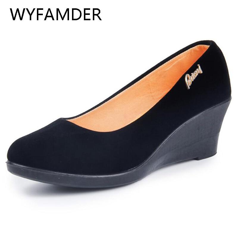 WYFAMDER 2020 Wedges Black Shoes Women