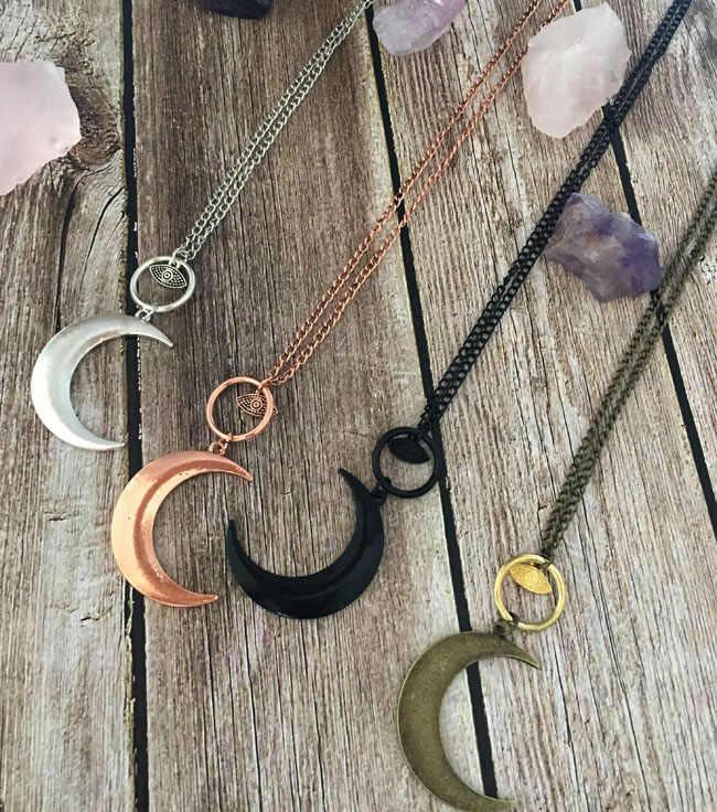 Mauvais œil pendentif collier croissant de lune collier Talisman bijoux sorcellerie Goth céleste lune amulette cadeau Boho Witchy Talisman