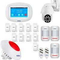 KERUI K52 Touch Screen Wireless GSM Wifi Home Security Alarm System Alarm Kit APP PIR Motion Siren Rfid Control