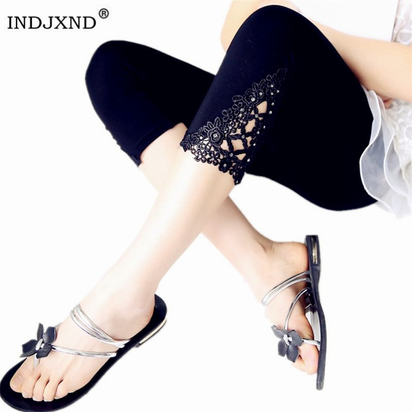 INDJXND New Women Mid Waist Trousers Summer Knee Hollow Pants Fashion Lace Women Cotton Trousers Out Floral Thin Skinny Pants