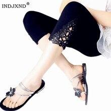 INDJXND חדש נשים אמצע מותניים מכנסיים קיץ הברך הולו מכנסיים אופנה תחרה נשים כותנה מכנסיים החוצה פרחוני דק סקיני מכנסיים