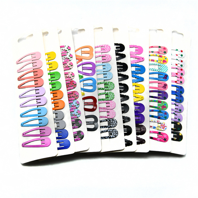 10PC Cartoon Metal Hair Clips Hairpin For Children Girls Lovely Snap Hairgrip Candy Color Headwear Hair Accessories 5cm Hot Sale