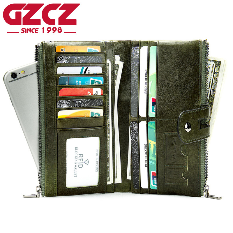 GZCZ Casual Leather Women Wallet 100% Genuine Leather Men`s Long Wallet Women Leather Wallet Fashion Lady Coin Purse Wallets