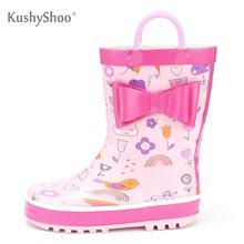 KushyShoo Kalosze dziecięce wodoodporne gumowe drukowanie kreskówki z uchwytami Kalosze deszczowe buty dziecięce dziewczyny Kalosze Dla Dzieci