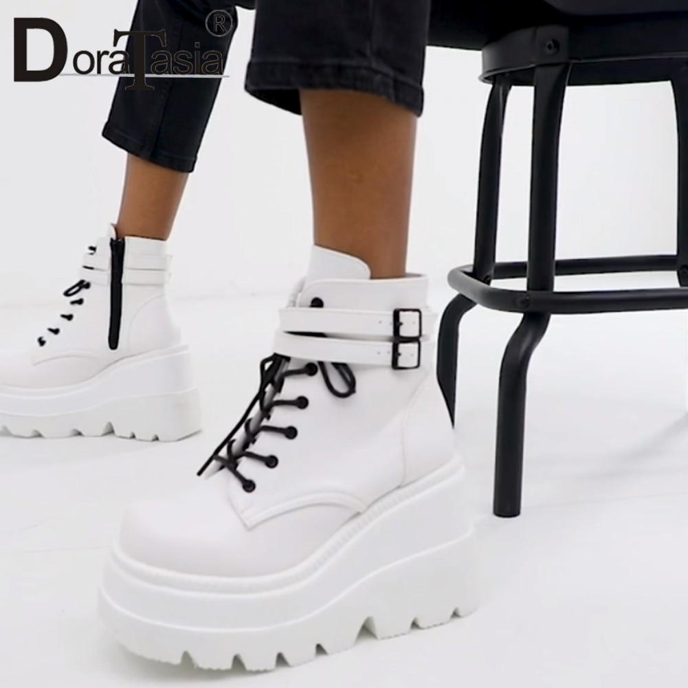 Hot DealsDORATASIA Luxury Brand New INS Hot Ladies High Platform Boots Fashion High Heels Ankle Boots Women 2020 Party Wedges Shoes Woman