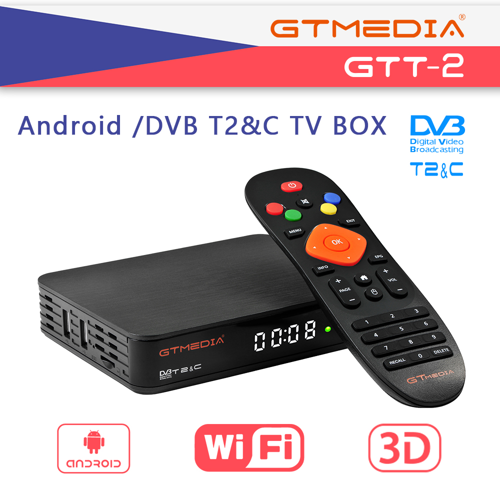 GTMEDIA GTT2 Android Box DVB-T2/Cable(J83.A/C)/ATSC-C/ISDBT 2GB 8GB 4K H.265 WiFi And 5lines Server Easy To Operate Sep Top Box