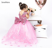 New Pink Baby Girls Clothes Sequins Top O Neck Long Flower Girl Dress Kids Clothes First Birthday Gown with Bow