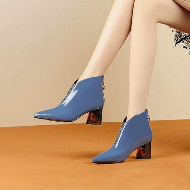 MLJUESE 2020 kadın yarım çizmeler inek deri kış kısa peluş fermuarlar mavi renk sivri burun yüksek topuklu kadın çizmeler boyutu 42