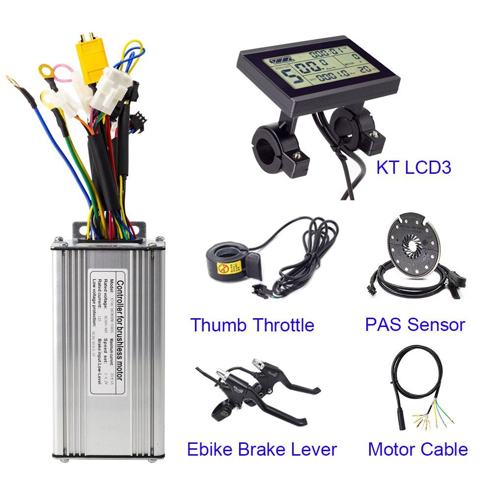 KT 36V 48V podwójny tryb sterowania z kciukiem przepustnicy dźwignia hamulca PAS czujnik LCD3 wyświetlacz Kunteng zestaw sterowniczy rower elektryczny