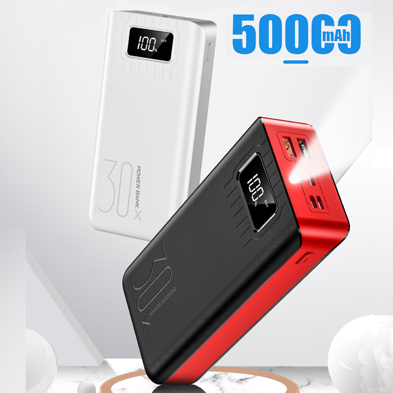18650 Power Bank 50000mah External Battery 2 USB QC Fast Charging Powerbank LED Display Portable phone Charger for Xiaomi in Mobile Phone Batteries from Cellphones Telecommunications