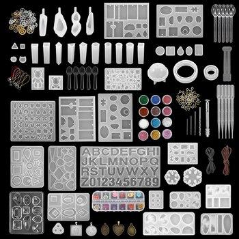 300 Uds moldes de fundición de resina epoxi de silicona de estilo mixto Set de herramientas UV para DIY fabricación de joyería de colgantes encontrar accesorios suministros