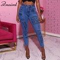 Женские джинсы-карандаш Znaiml, повседневные обтягивающие джинсы-карандаш с принтом в виде букв и граффити на весну и осень, уличная одежда