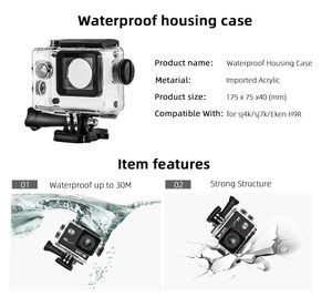 For Eken H9 Sj4000 WiFi 4K Action Sport Camera Diving Underwater Waterproof Housing Case Box Protector Accessories Kit