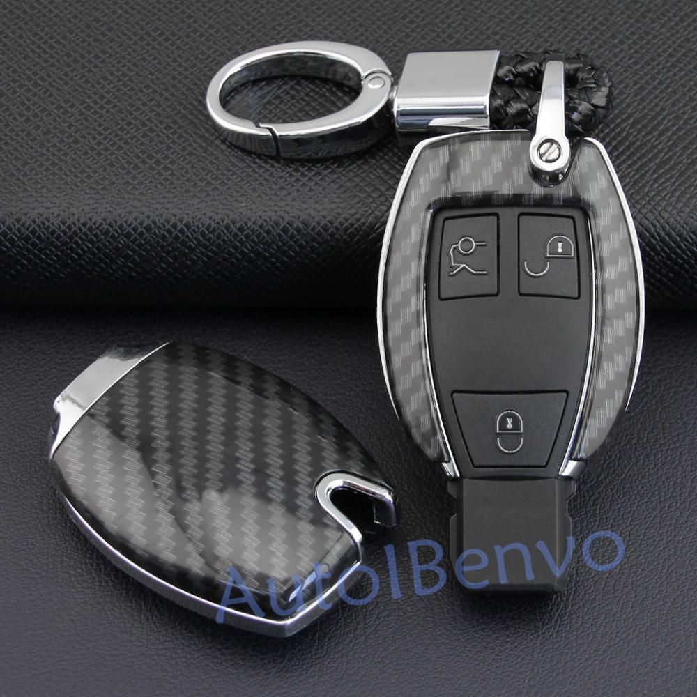 New Carbon Fiber Car Key Protect Shell For Mercedes-Benz A B C E S G M V Class CLA CLS GLC GLE Viano Durable Cover Accessories image