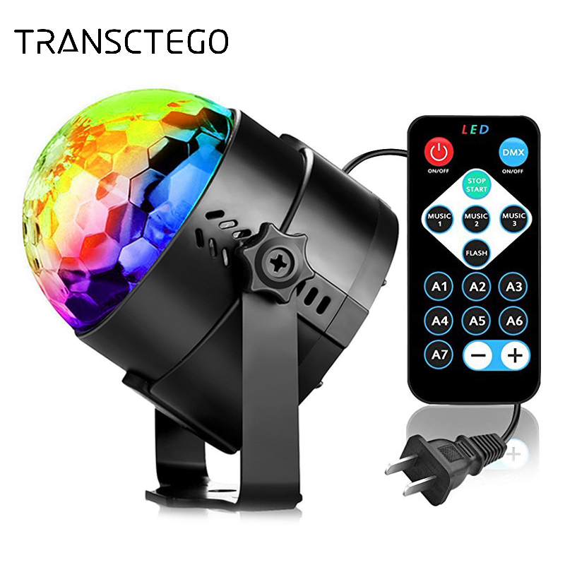 Christmas LED Disco Light Soundlights Party Lights Disco Ball Sound Activated Strobe DJ Stage Lamp For Home Halloween Projector