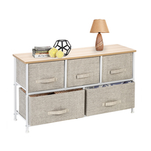 【US Warehouse】2-Tier Wide Closet Dresser, Nursery Dresser Tower With 5 Easy Pull Fabric Drawers And Metal Frame, Storage Shelf