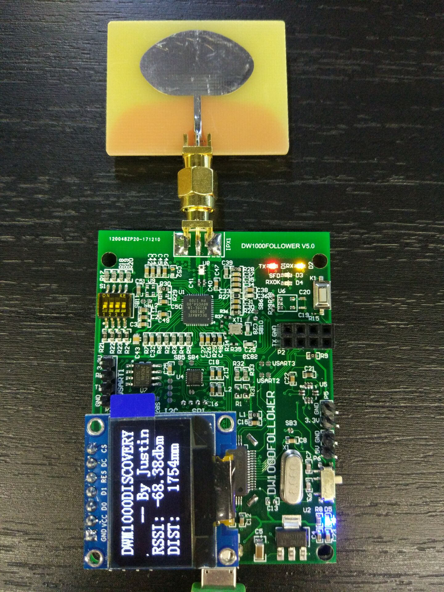 DW1000FOLLOWER Development Board UWB Indoor Positioning Follow Abandon DWM1000 300 Meters Distance