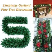 2,7 м рождественские украшения, украшения для рождественской елки, гирлянда из ротанга, домашние настенные сосновые подвесные Зеленые искусственные украшения для дома