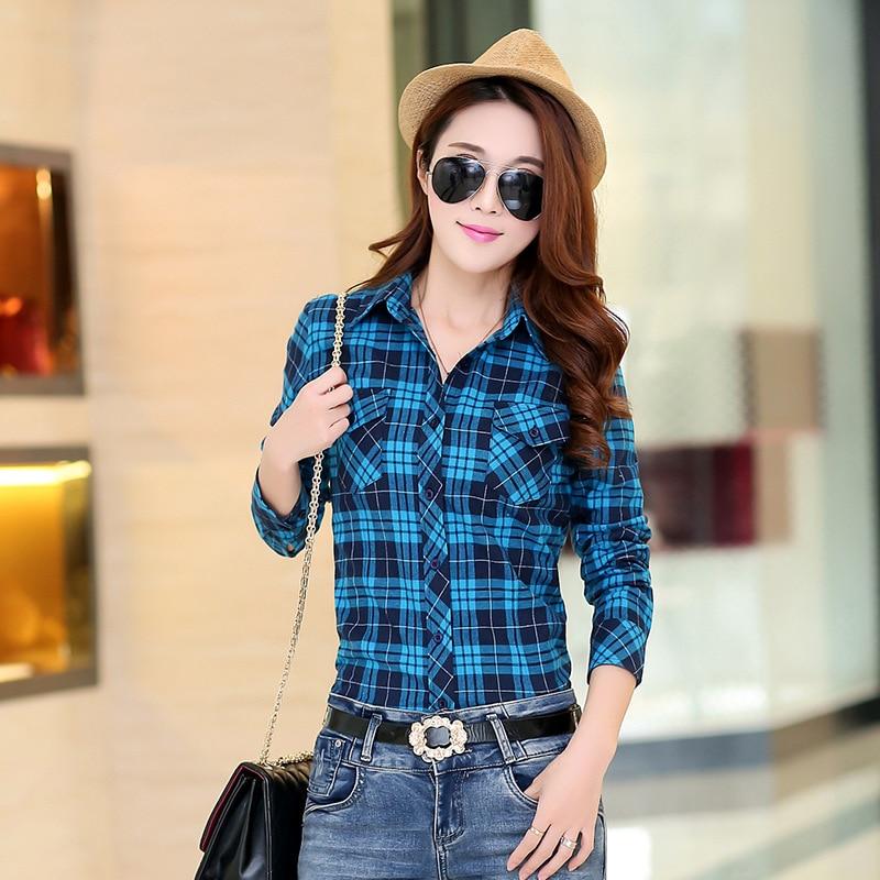 Autumn Spring Blouses Fashion Turn Down Collar Cotton Tops Women's Plaid Shirt Office Work Slim Long-Sleeve Shirts Blusas Mujer 4