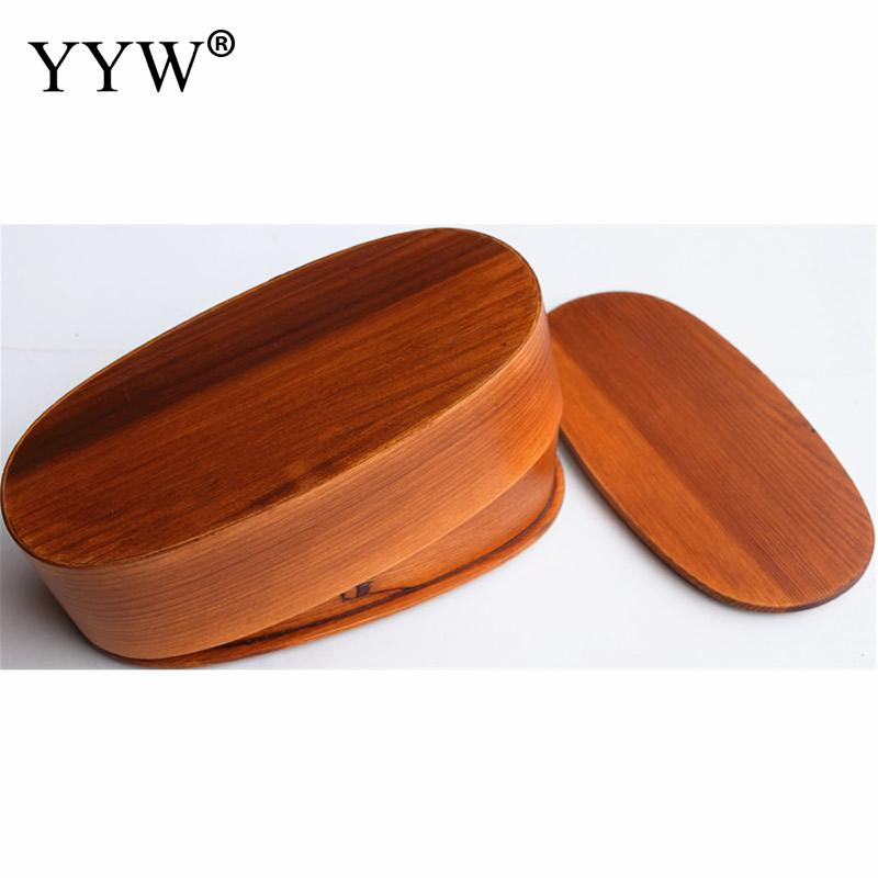 Double Layer Wooden Lunch Box Portable Salad Bento Box Dinnerware Food Storage Container Broodtrommel Kinderen Kitchen Tools in Lunch Boxes from Home Garden