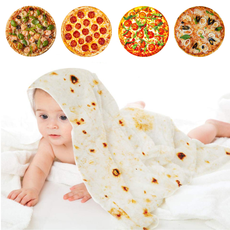 Baby Soft Pizza Blankets Novel food Tortilla burritos blanket cocoon swaddle newborn bath for girl boy Pizza pie Quilt