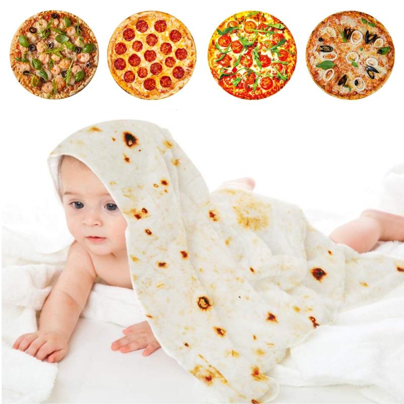 Baby Soft Pizza Blankets Novel Food Tortilla Burritos Blanket Cocoon Swaddle Newborn Bath For Girl Boy Pizza Pie Quilt