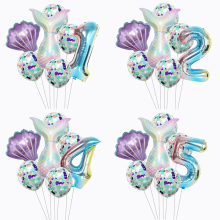 7 Pcs Mermaid Pesta Balon Rainbow Foil Nomor Balon Kecil Mermabirthday Dekorasi Pesta Baby Shower Helium Confetti Balon(China)
