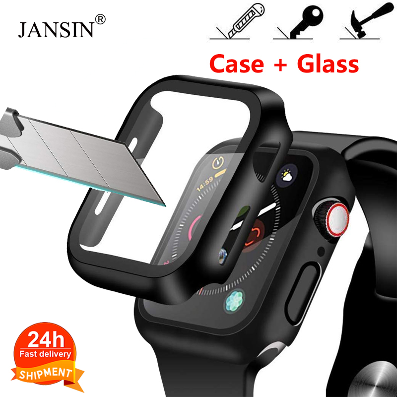 Case+Tempered Glass For Apple Watch 40mm 44mm Series 5 4 Screen Protector Coverage Bumper Case For Iwatch Series 3 2 1 38mm 42mm