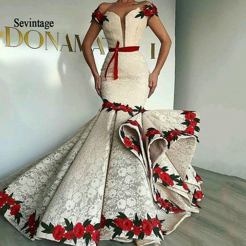 Sevintage Arabic Dubai Lace Mermaid Prom Dresses Flowers Off The Shoulder Evening Dress Formal Party Gowns Vestidos De Fiesta