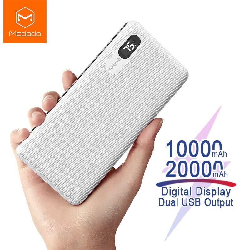 Mcdodo, 20000 мА/ч, зарядное устройство, внешний аккумулятор, цифровой дисплей, быстрая зарядка, 2А, внешний, портативный, внешний аккумулятор для ...