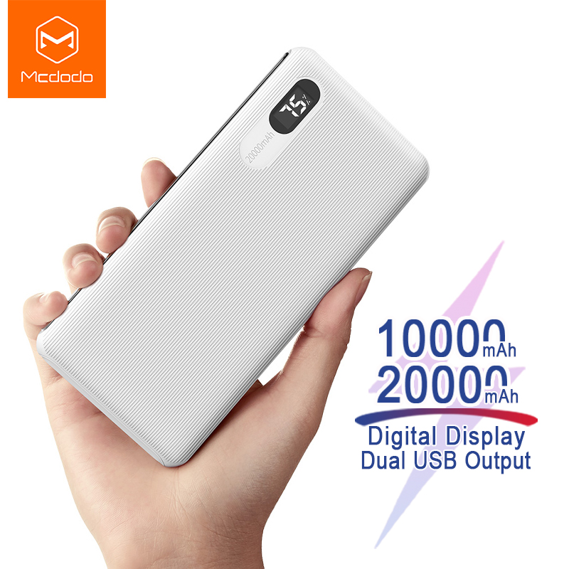 Mcdodo 20000 Mah Batterij Oplader Power Bank Digitale Display Snelle Lading 2A Externe Draagbare Powerbank Voor Iphone Samsung Xiaomi title=