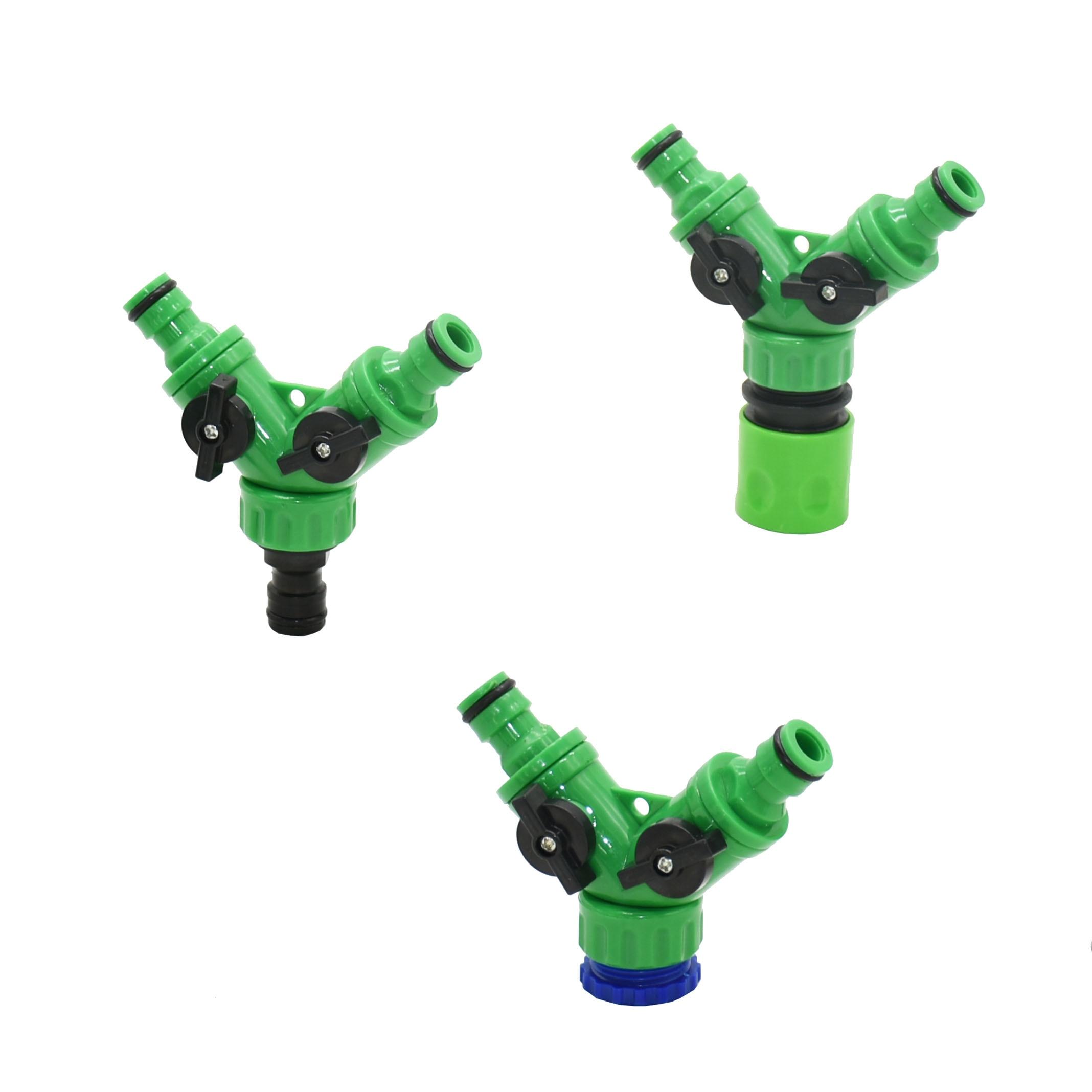 2-way Garden Tap Water Splitter Female 1/2 3/4 Garden Hose Y Splitter Watering Adjustable Switch 1pcs