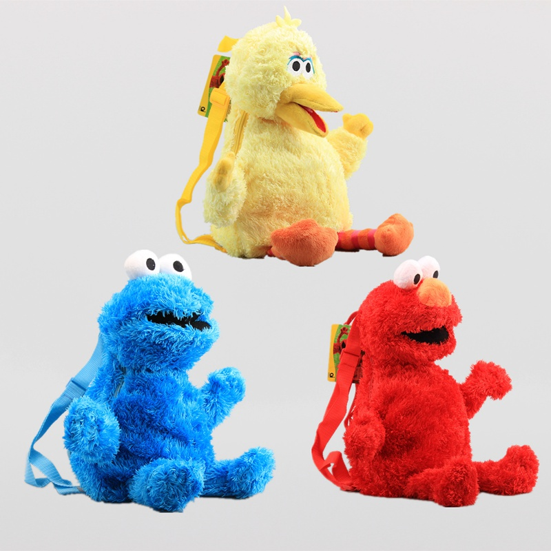 3 Colors 45cm Sesame Street School Bag Cotton Plush Cartoon Doll Elmo Big Bird Cookie Monster Cute Backpack Kids Birthday Gift