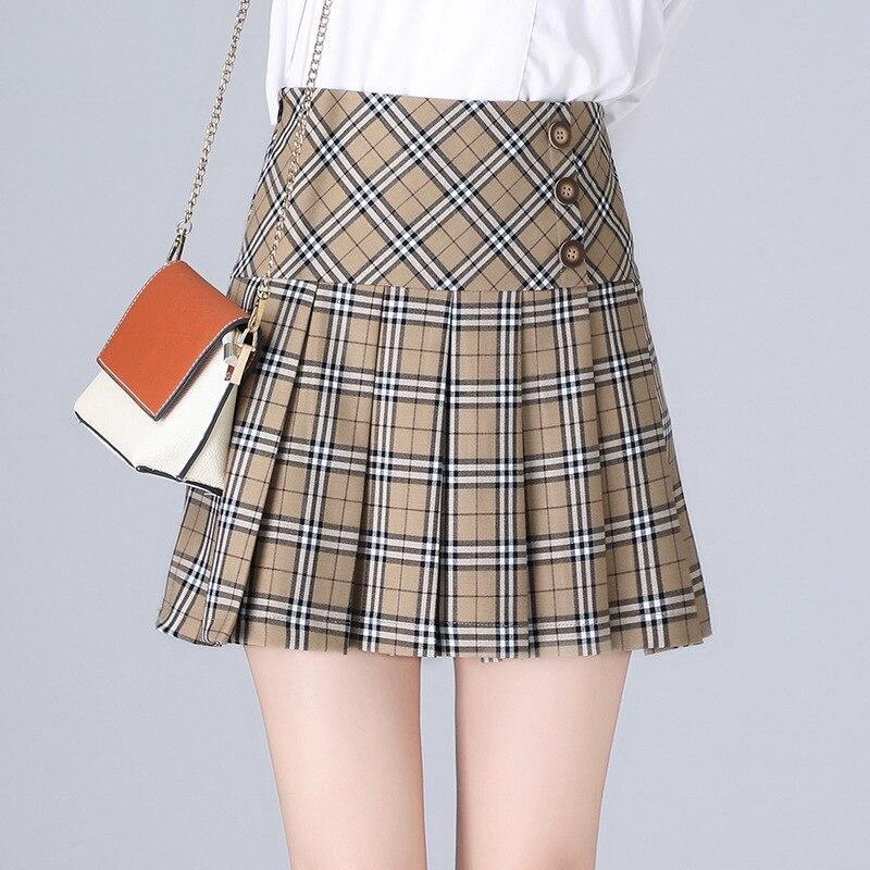 Pleated Skirt Women Plaid High Waist A-line Mini Skirt Slim-fit Casual Girl Short Skirt 2020 Spring Summer New Plus Size Skirt