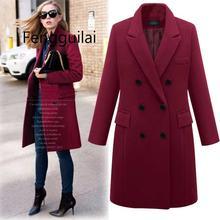 FENGGUILAI Plus Size 5XL Oversized Overcoat Women Winter Warm Thicken Double Breasted Windproof Jacket Slim Fit Long Woolen Coat