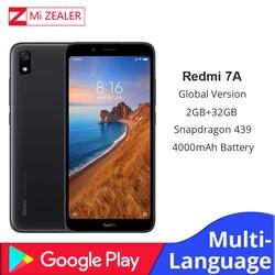 """Оригинальный мобильный телефон Redmi 7A с глобальной версией, 2 ГБ, 16 ГБ, смартфон Snapdargon 439, Восьмиядерный аккумулятор 5,45 """"4000 мАч"""
