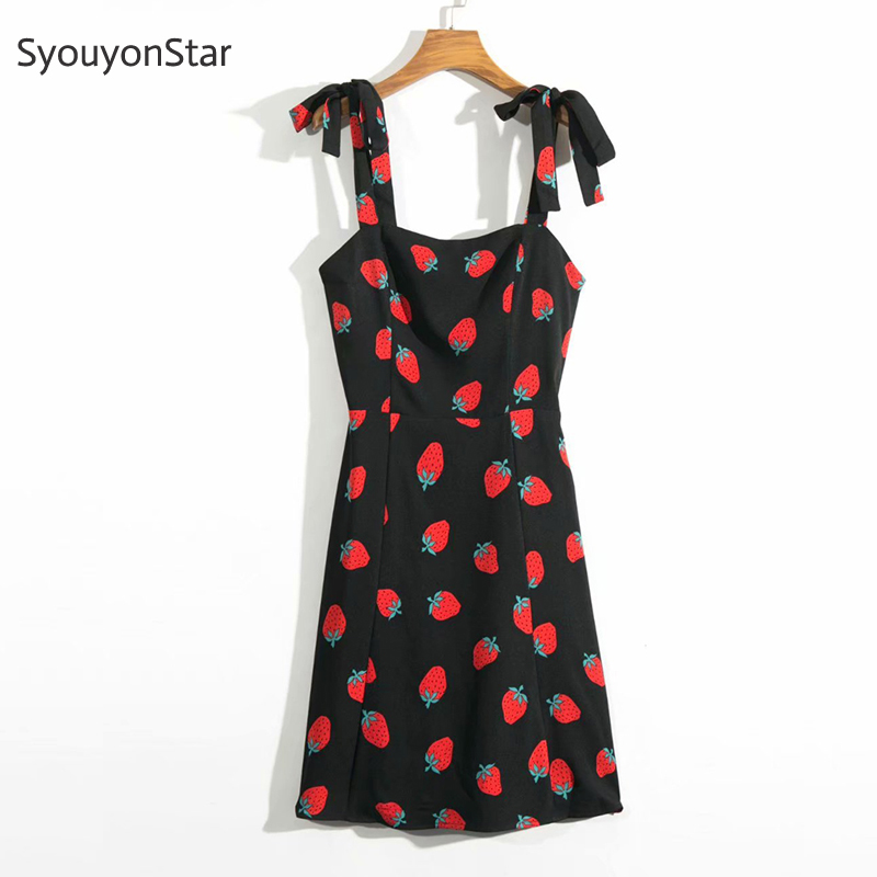 SyouyonStar Summer Black Strappy Mini Dress Strawberry Print Spaghetti Strap Dress 2019 Women Sweet Dresses Vestidos