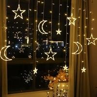 3.5 m led estrela lua led cortina de fadas luz da corda luzes de natal decoração luzes do feriado da ue 220v luz de fadas