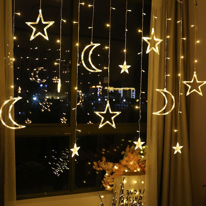 3.5M Led Star Moon Led Curtain Fairy String Light Christmas Lights Decoration Holiday Lights EU 220v Fairy Light