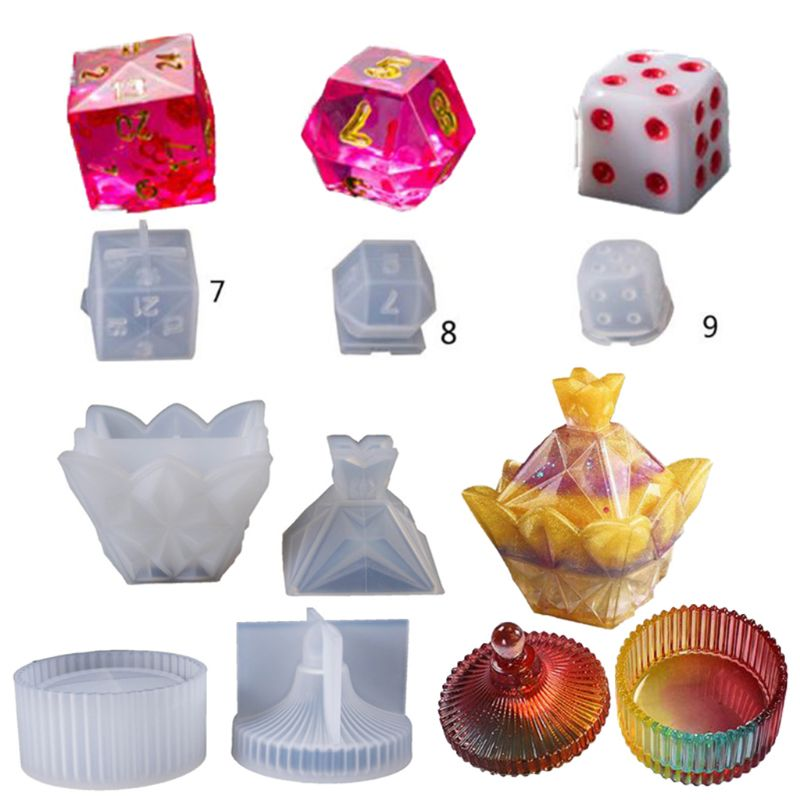 Diy Crystal Epoxy Silicone Resin Molds Dice Fillet Pyramid Cylinder Box Digital Game High Mirror Dice Mold Silicone Mould Making