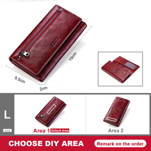 Image 5 - GZCZ Women Clutch Wallets 100% Genuine Leather RFID Multiple Cards Holder Long Fashion  Female Coin Purse With Phone Bag  2020