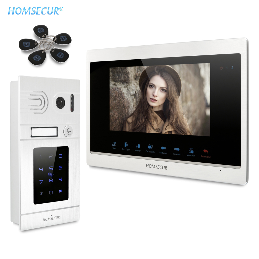 HOMSECUR Wired 7″ Video Door Intercom System with Password IC Keyfob Unlock Flush Mount Outdoor Camera IP65 Motion Detection
