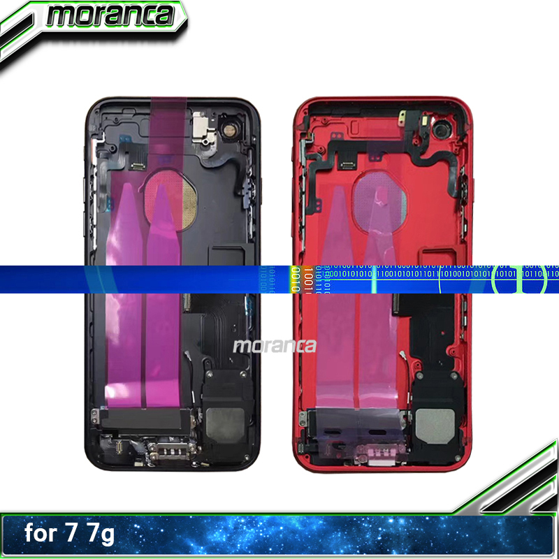 For Iphone 7 7G Or 7 Plus Back Middle Frame Chassis Full Housing Assembly Battery Cover Door Rear With Flex Cable Red Jet Black