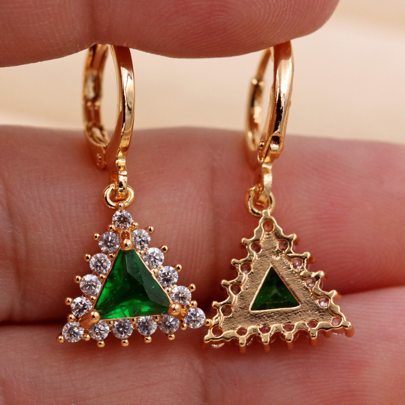 Haf35e2ae278842f881001dc7f5f3db47H - Trendy Vintage Drop Earrings For Women Gold Filled  Red Green Pink Lavender Zircon Earrings Gold  Earring Wedding  Jewelry