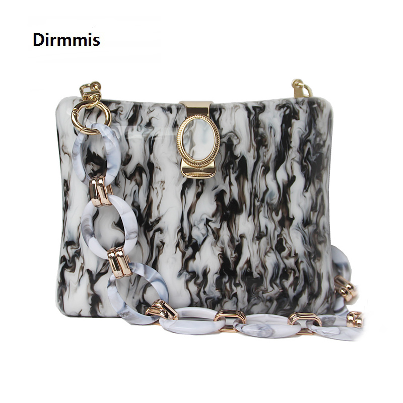 New Trendy Bags Fashion Women Handbags Black White Ink Geometric Acrylic Luxury Party Evening Bag Woman Casual Box Clutch Purse
