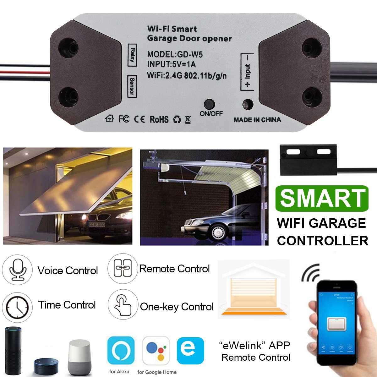 WiFi Smart Garage Door Opener Switch APP Remote Control Garage Open Close Monitor for Google Home for Echo for Alexa