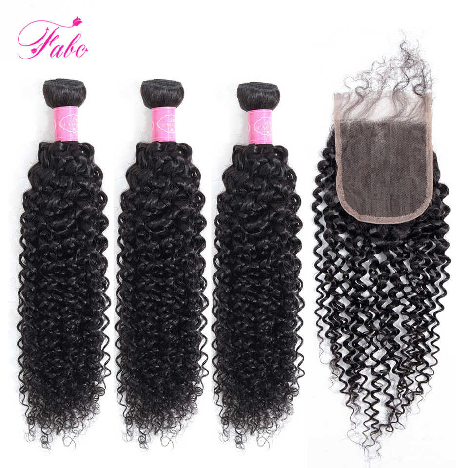 FABC Human Hair Extensions Peruvian Hair Kinky Curly Bundles with Closure Natural Color Non Remy Hair Bundles with closure
