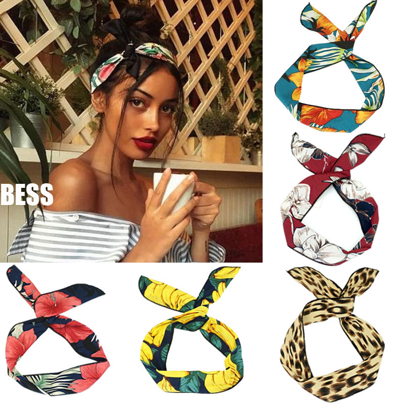 Bohemia Rabbit Ears Knotted Headbands Hair Ribbon Metal Wire Scarf Hairband Girls Hair Accessories For Women Gifts