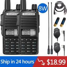 2pcs BaoFeng UV-82 Plus 8W Walkie Talkie Dual PTT Station Comunicador UV5R Ham Transceiver Dual-Band Intercom Handheld  FM Radio