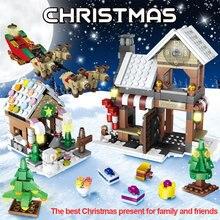 741pcs 도시 창조자 크리스마스 트리 눈사람 집 빌딩 블록 겨울 마을 휴일 장면 피규어 아이들을위한 벽돌 장난감